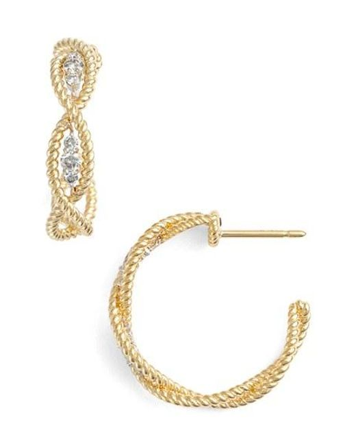 Roberto Coin | Yellow 'new Barocco' Diamond Hoop Earrings | Lyst