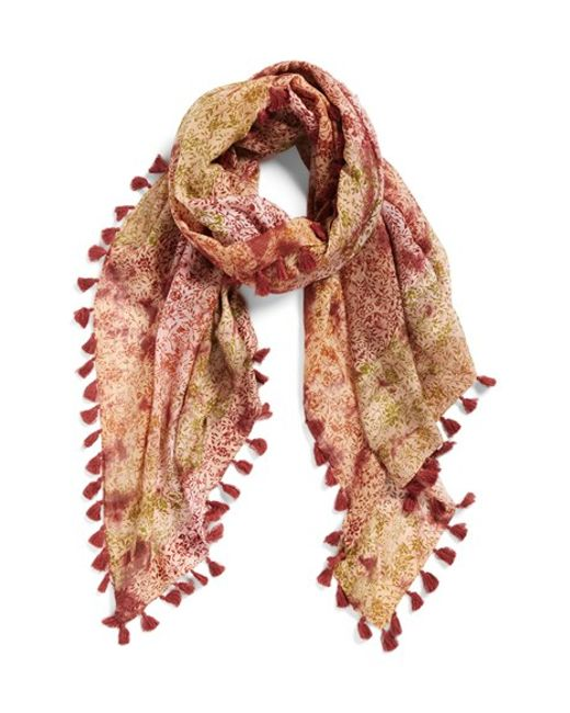 La Fiorentina | Brown Floral Print Silk & Cotton Scarf | Lyst