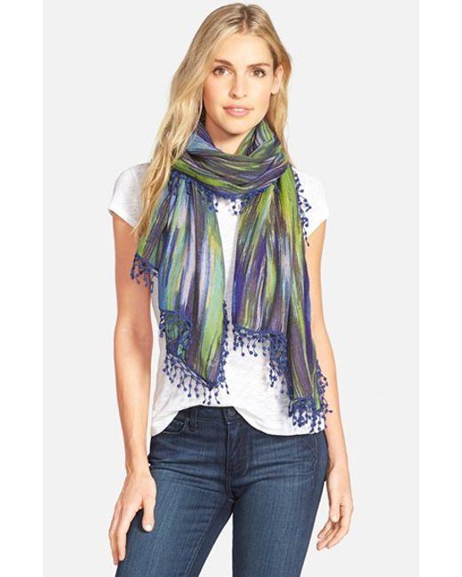La Fiorentina   Blue Ikat Print Wool Scarf   Lyst
