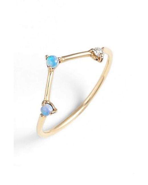 Wwake   Yellow Counting Collection Three-step Triangle Opal & Diamond Ring   Lyst
