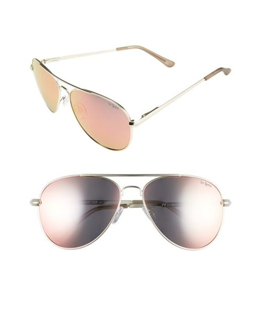 Le Specs | Black 'drop Top' 60mm Aviator Sunglasses - Brushed Gold | Lyst
