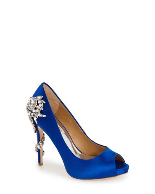 Badgley Mischka | Black 'royal' Crystal Embellished Peeptoe Pump | Lyst