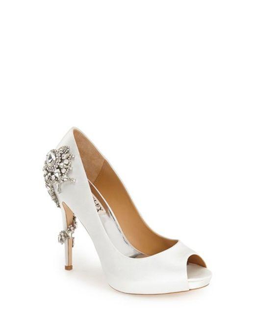 Badgley Mischka | White 'royal' Crystal Embellished Peeptoe Pump | Lyst