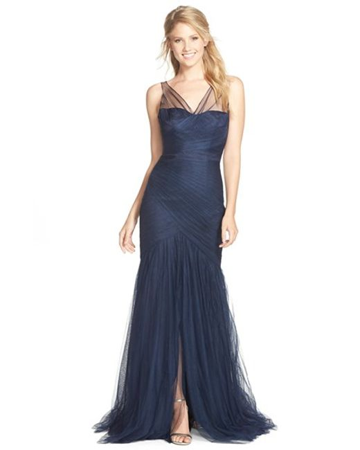 Monique Lhuillier Bridesmaids | Blue Illusion Yoke Pleat Tulle Trumpet Gown | Lyst