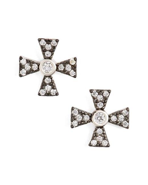 Freida Rothman | Metallic Pave Stud Earrings | Lyst