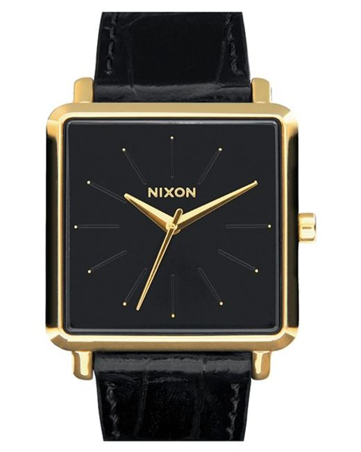 Nixon | Black 'the K Squared' Leather Strap Watch | Lyst