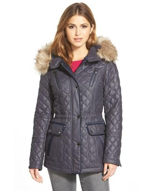 Laundry by Shelli Segal | Blue Waxed Twill Quilted Jacket | Lyst