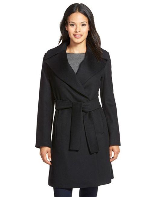 Trina Turk   Black 'violet' Wool Blend Wrap Coat   Lyst
