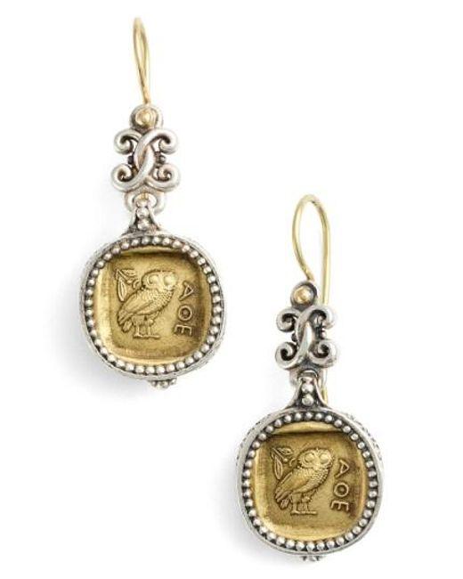 Konstantino   Metallic 'athena Owl' Drop Earrings   Lyst