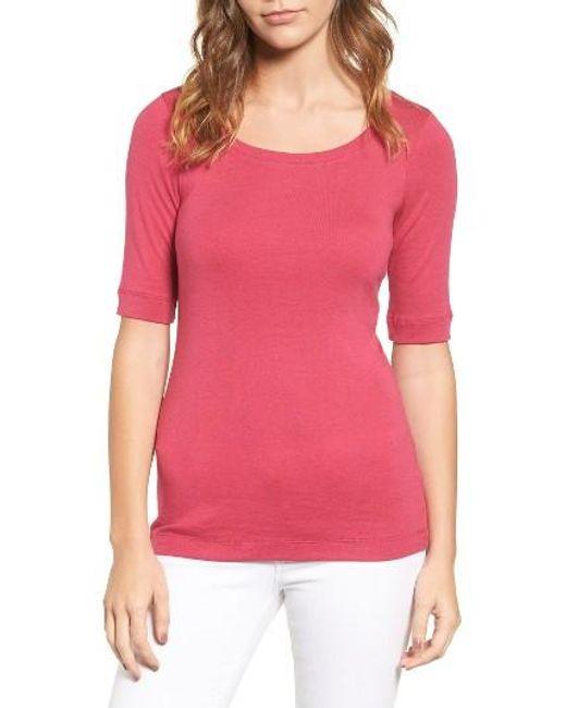 Caslon | Pink Caslon Ballet Neck Cotton & Modal Knit Elbow Sleeve Tee | Lyst