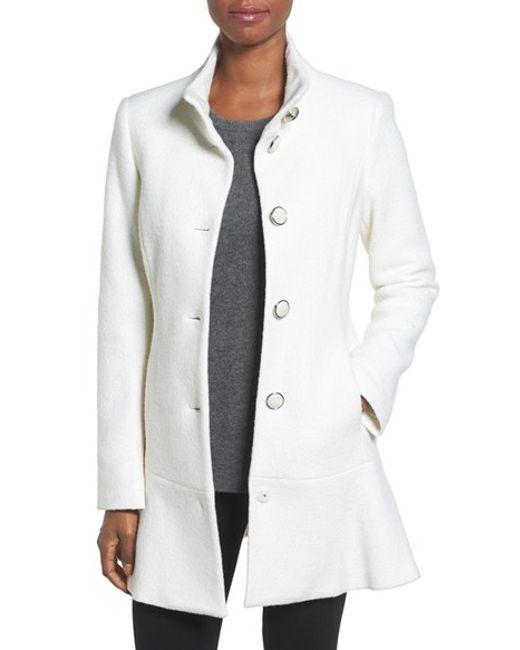 Kensie   Black Single Breasted Ruffle Hem Coat   Lyst