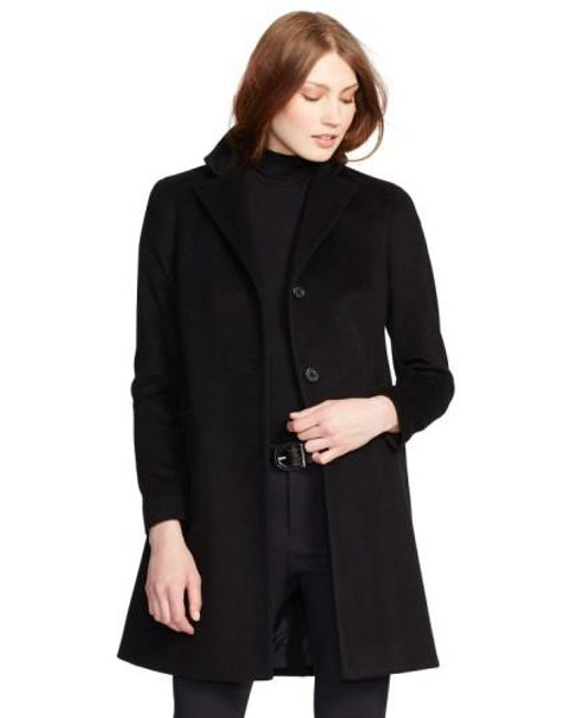 Lauren by Ralph Lauren | Black Reefer Wool-Blend Coat | Lyst