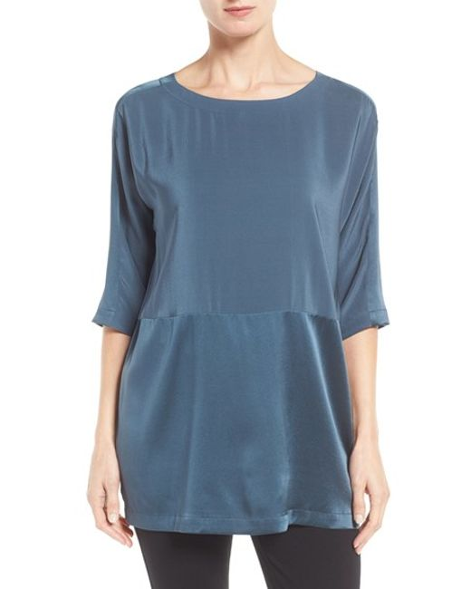 Eileen Fisher | Blue Scoop Neck Three-quarter Sleeve Top | Lyst
