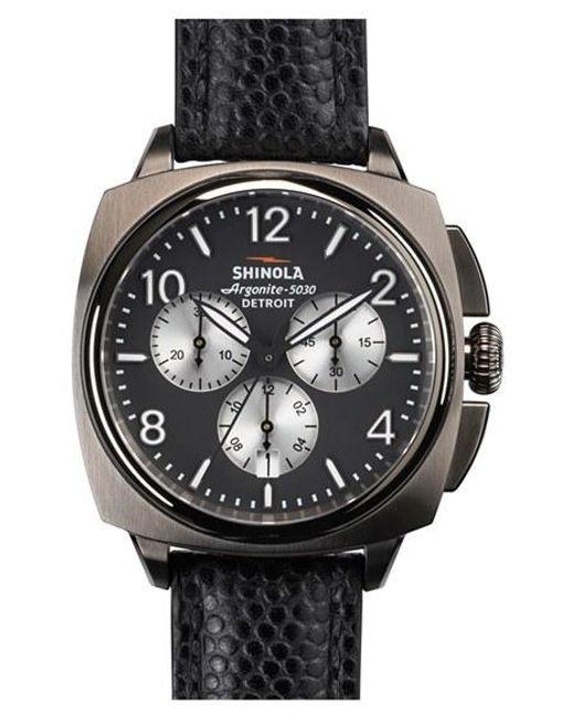 Shinola | Metallic 'the Brakeman' Chronograph Leather Strap Watch for Men | Lyst