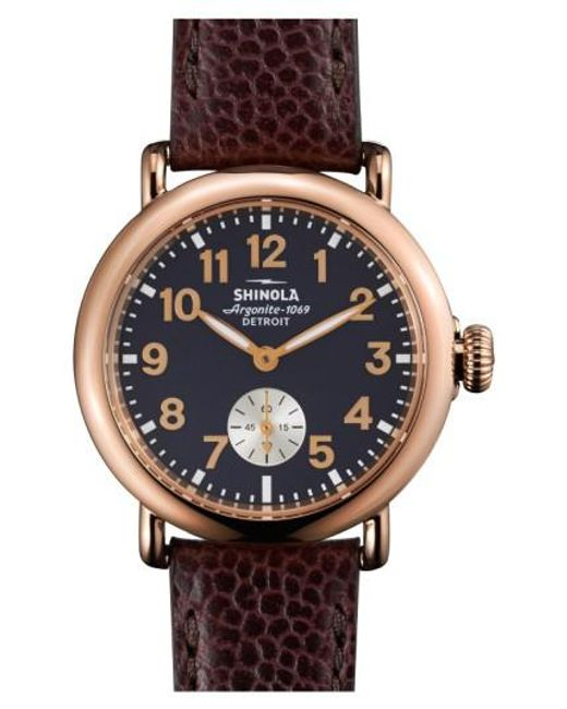Shinola   Blue 'the Runwell' Leather Strap Watch   Lyst