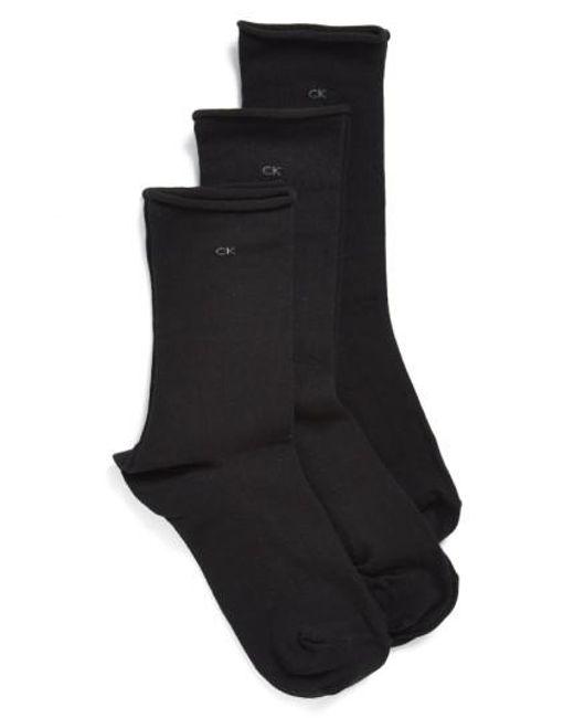 Calvin Klein   Black Roll Top Crew Socks   Lyst
