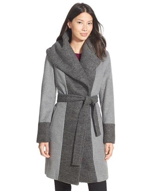 Calvin Klein | Gray Boucle Trim Hooded Wrap Coat | Lyst