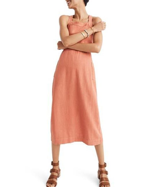 Madewell - Orange Garment Dye Apron Maxi Dress - Lyst