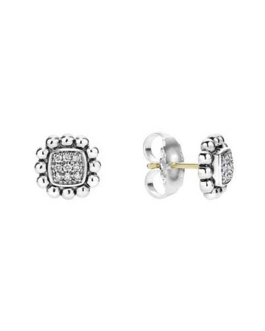 Lagos | Metallic Caviar Spark Diamond Square Stud Earrings | Lyst