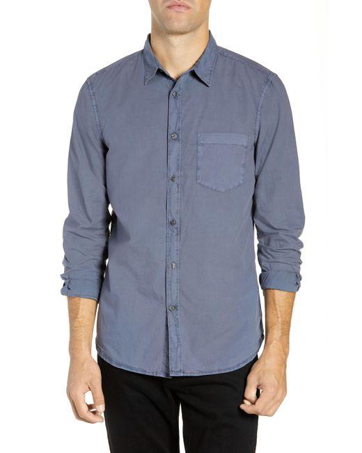 French Connection - Blue Overdyed Regular Fit Poplin Sport Shirt for Men - Lyst