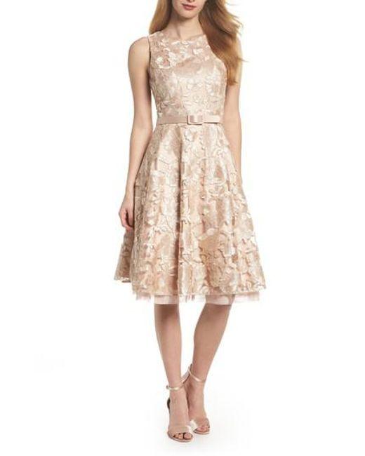 Eliza J | Metallic Belted Lace Fit & Flare Dress | Lyst