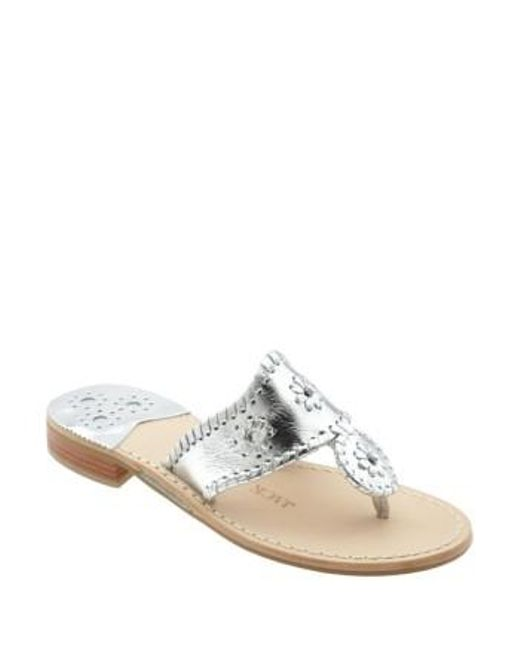 Jack Rogers | Metallic Whipstitched Flip Flop | Lyst