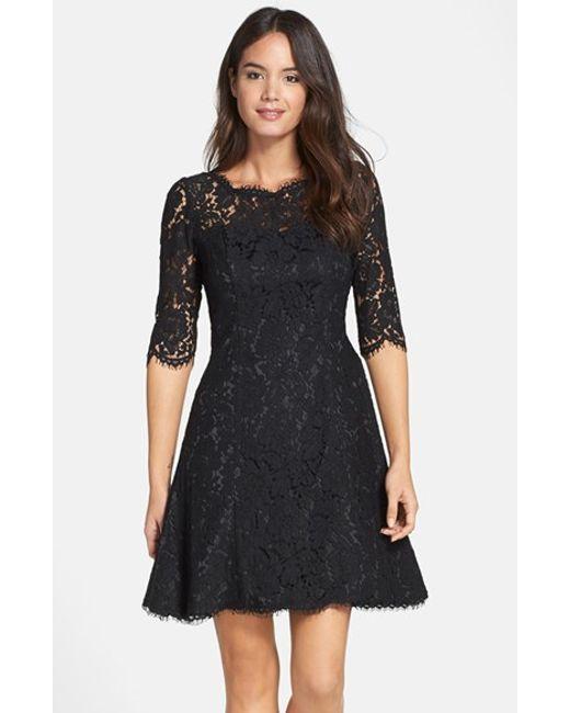 Eliza J | Black Floral-Lace Tulip Dress | Lyst