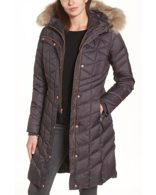 Andrew Marc | Multicolor Meadow Down & Feather Fill Coat With Faux Fur Trim | Lyst