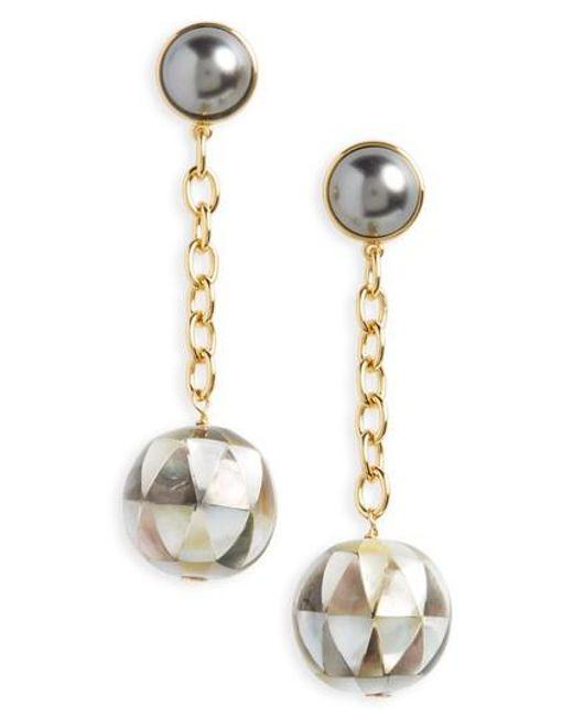 Tory Burch | Metallic Linear Drop Earrings | Lyst