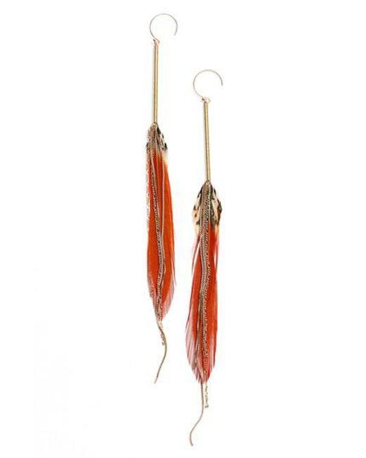 Serefina - Red Feather Drop Earrings - Lyst