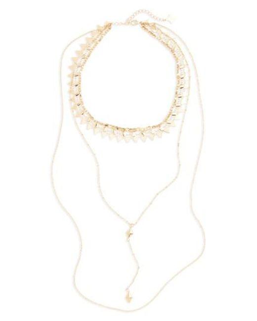 Panacea | Metallic Layered Y-necklace | Lyst