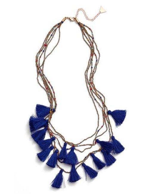 Serefina | Blue Layered Tassel Statement Necklace | Lyst