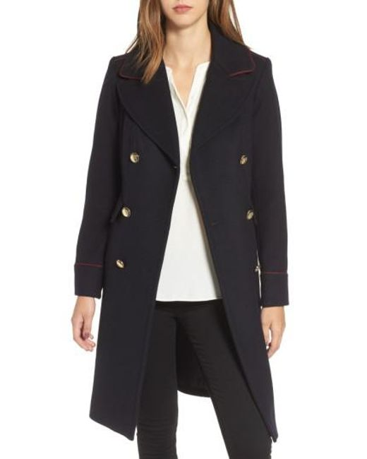 Vince Camuto | Blue Double Breasted Utility Coat | Lyst