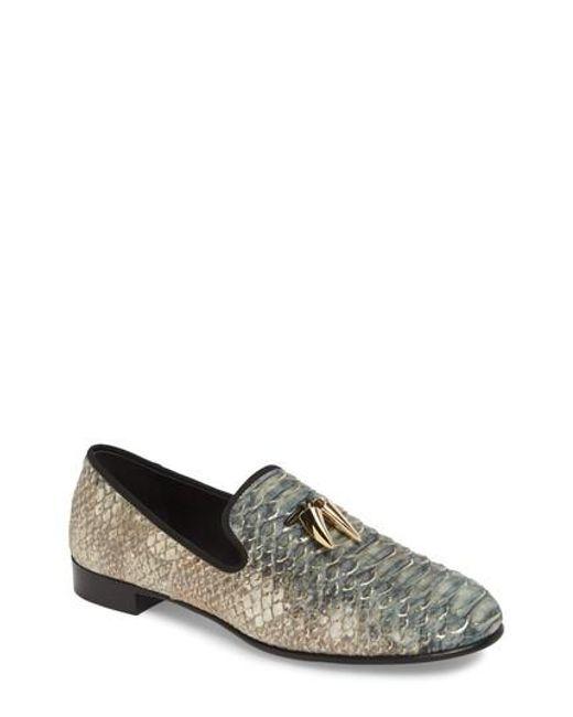 Giuseppe Zanotti Python-embossed calfskin leather loafers COOPER ZRM3G