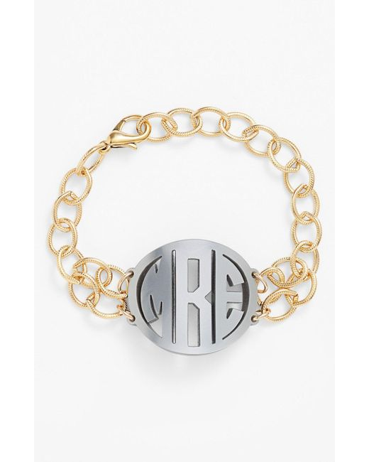 Moon & Lola - Metallic 'annabel' Medium Personalized Monogram Bracelet - Lyst