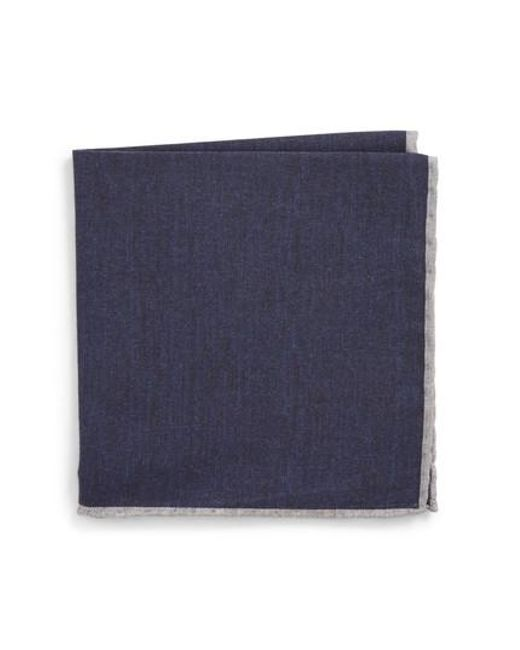 Eleventy - Blue Solid Wool & Cotton Pocket Square for Men - Lyst