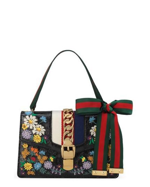 Sylvie floral-embroidered leather shoulder bag Gucci hhGiI