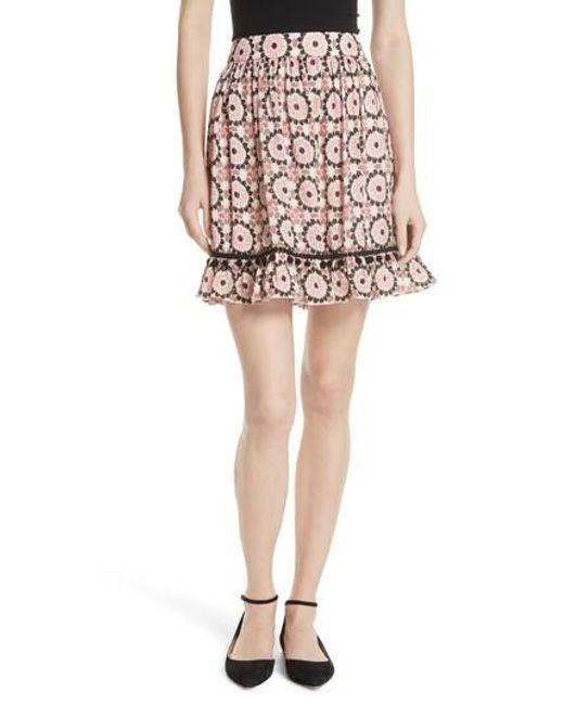 Kate Spade - Multicolor Floral Mosaic Silk Blend Skirt - Lyst