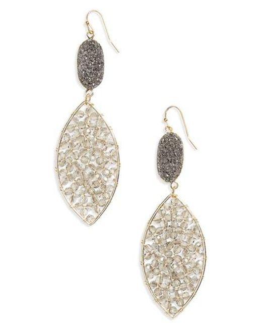 Panacea   Metallic Drusy Crystal Earrings   Lyst