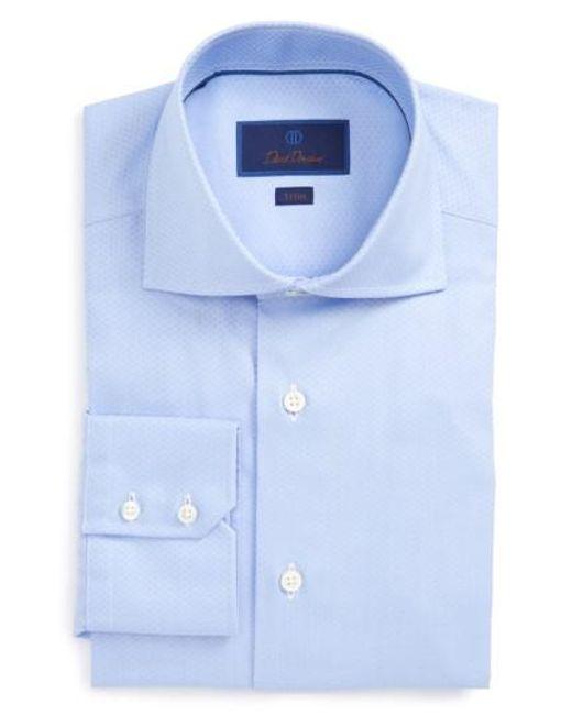 David Donahue | Blue Trim Fit Herringbone Weave Dress Shirt for Men | Lyst