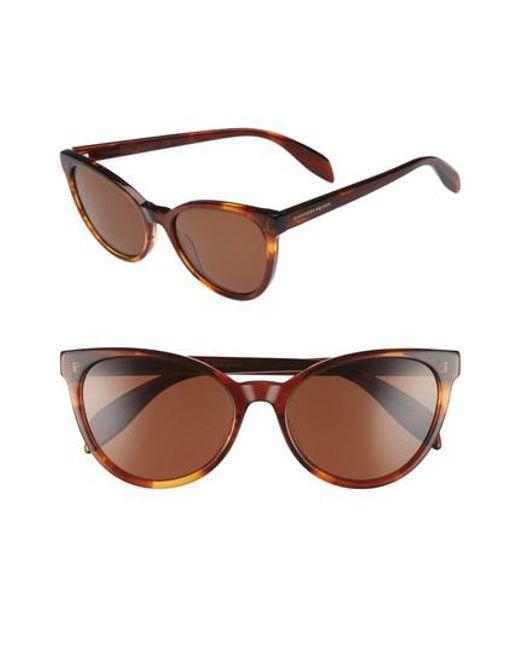 Alexander McQueen - Brown 55mm Cat Eye Sunglasses - Avana - Lyst
