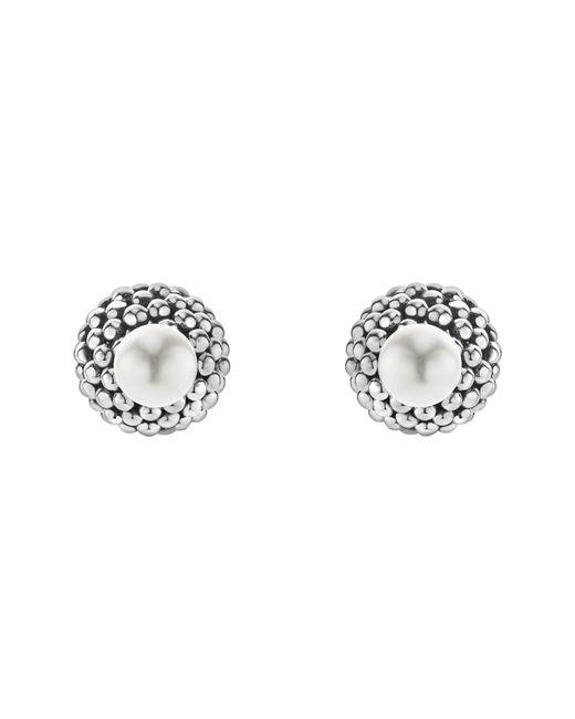 Lagos - Metallic Caviar & Pearl Stud Earrings - Lyst