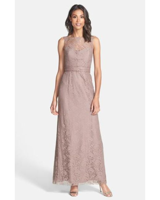 Amsale | Pink Illusion Yoke Lace Gown | Lyst