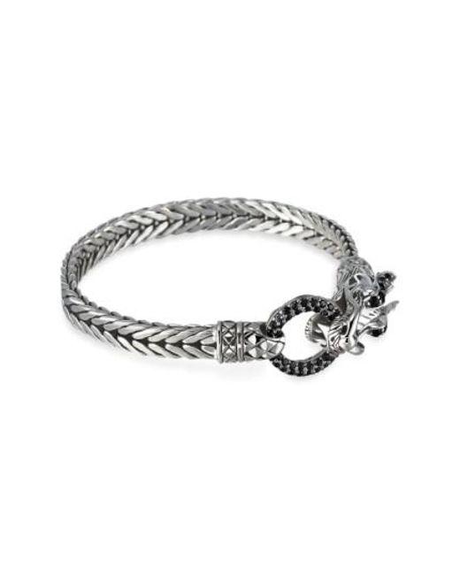 John Hardy - Metallic Black Sapphire & Sterling Silver Double Coil Dragon Bracelet - Lyst