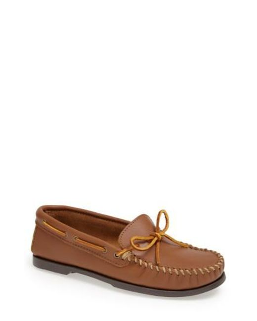 Minnetonka | Brown Leather Camp Moccasin for Men | Lyst