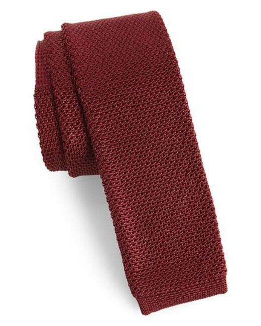 Ted Baker - Red Birdseye Knit Silk Skinny Tie for Men - Lyst