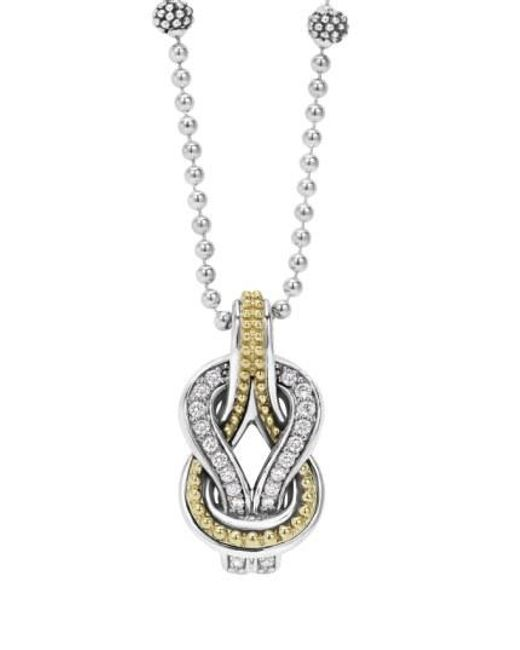 Lagos - Metallic 'newport' Diamond Knot Pendant Necklace - Lyst