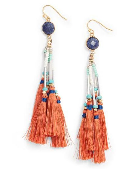 Nakamol Multi-Tassel Fringe Drop Earrings SNGBi
