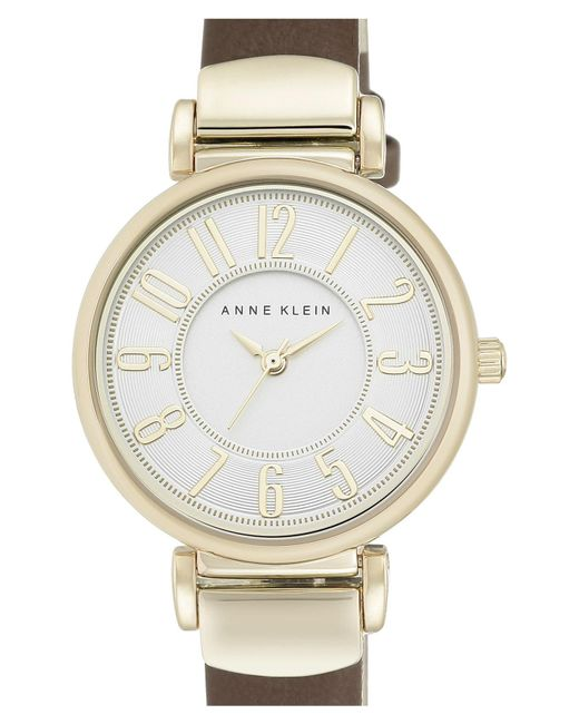 Anne Klein - Metallic Leather Strap Watch - Lyst