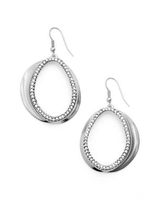 Karine Sultan - Metallic Crystal Front Hoop Earrings - Lyst